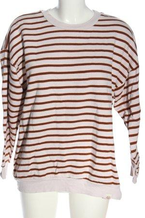 Pull & Bear Rundhalspullover weiß-braun Streifenmuster Casual-Look