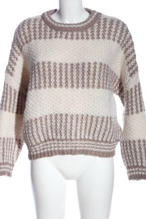 Pull & Bear Rundhalspullover weiß-braun Zopfmuster Casual-Look