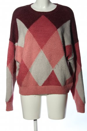 Pull & Bear Rundhalspullover rot-pink grafisches Muster Casual-Look