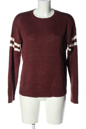 Pull & Bear Rundhalspullover rot-weiß Casual-Look