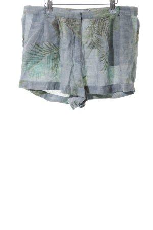 Pull & Bear Shorts blau-grün Allover-Druck Casual-Look