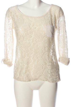 Pull & Bear Spitzenbluse wollweiß-weiß Casual-Look