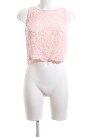 Pull & Bear Kanten topje roze bloemenprint casual uitstraling