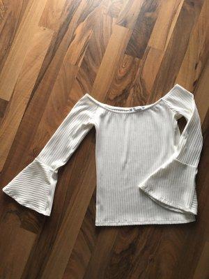 Pull & Bear Ribbed Shirt white