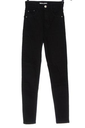 Pull & Bear Spodnie ze stretchu czarny W stylu casual