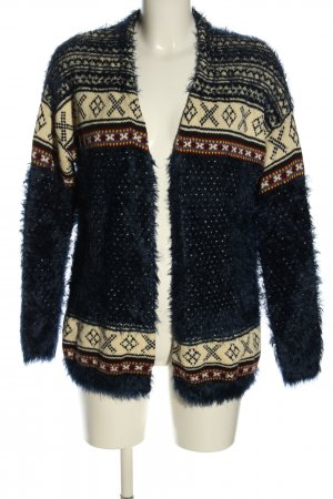 Pull & Bear Strick Cardigan blau-wollweiß grafisches Muster Casual-Look
