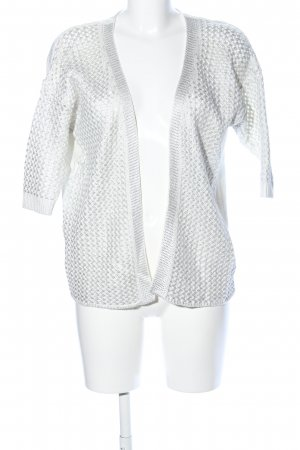 Pull & Bear Strick Cardigan weiß-silberfarben grafisches Muster Casual-Look