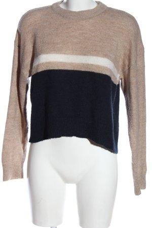 Pull & Bear Sweter z dzianiny kremowy-niebieski Warkoczowy wzór W stylu casual