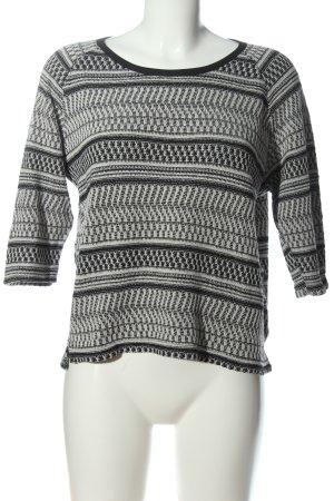 Pull & Bear Strickpullover weiß-schwarz grafisches Muster Casual-Look