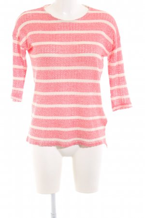 Pull & Bear Strickpullover pink-wollweiß Streifenmuster Business-Look
