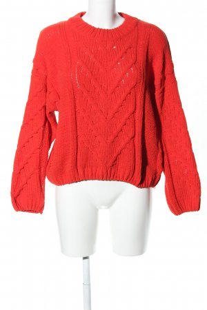 Pull & Bear Strickpullover rot Zopfmuster Casual-Look