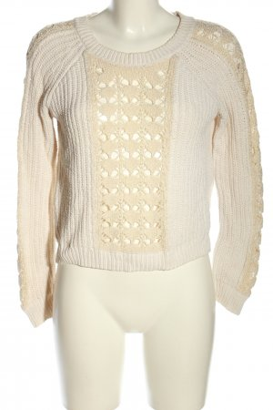 Pull & Bear Strickpullover wollweiß-creme Zopfmuster Casual-Look