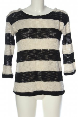 Pull & Bear Maglione lavorato a maglia nero-bianco sporco motivo a righe