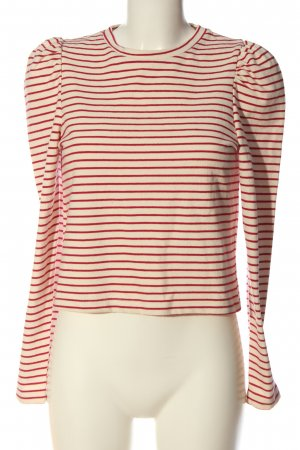 Pull & Bear Strickpullover creme-rot Allover-Druck Casual-Look