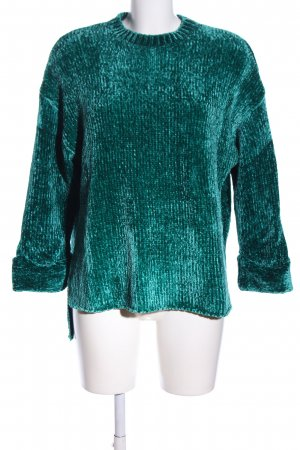 Pull & Bear Strickpullover grün Casual-Look