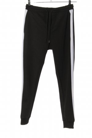Pull & Bear Pantalón deportivo negro-blanco look casual