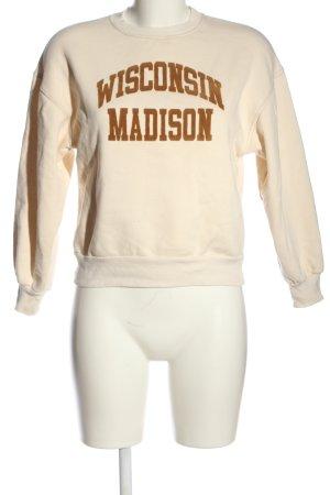 Pull & Bear Sweatshirt creme-braun Schriftzug gedruckt Casual-Look