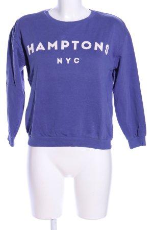 Pull & Bear Sweatshirt blau-weiß Schriftzug gedruckt Casual-Look