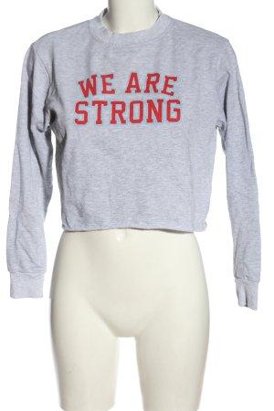 Pull & Bear Sweatshirt gris clair-rouge moucheté style décontracté