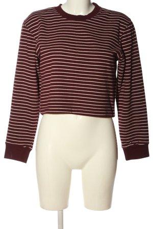 Pull & Bear Sweatshirt rot-wollweiß Streifenmuster Casual-Look