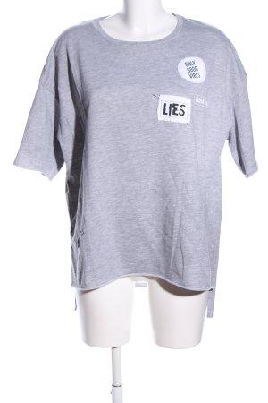 Pull & Bear Sweatshirt hellgrau Schriftzug gedruckt Casual-Look