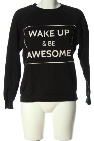 Pull & Bear Sweatshirt schwarz-weiß Schriftzug gedruckt Casual-Look