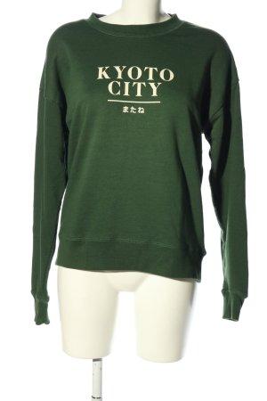 Pull & Bear Sweatshirt grün Schriftzug gedruckt Casual-Look