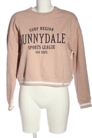 Pull & Bear Sweatshirt creme Schriftzug gestickt Casual-Look