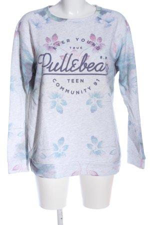 Pull & Bear Sweatshirt weiß-blau Blumenmuster Casual-Look