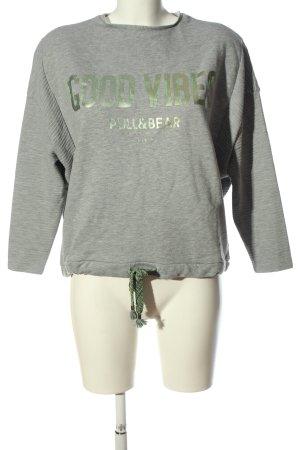 Pull & Bear Sweatshirt hellgrau-grün meliert Casual-Look
