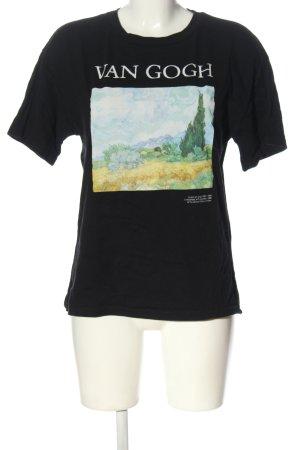 Pull & Bear T-shirt noir imprimé avec thème style décontracté