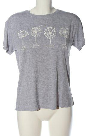 Pull & Bear Camiseta gris claro-blanco moteado look casual