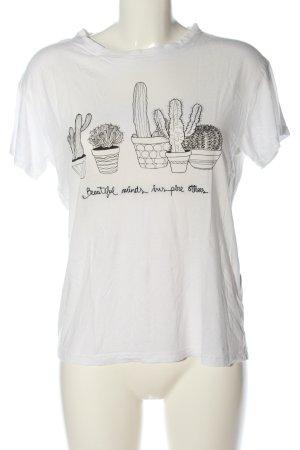 Pull & Bear Camiseta blanco-negro estampado temático look casual