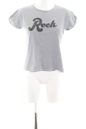 Pull & Bear T-Shirt weiß-schwarz Schriftzug gedruckt Casual-Look