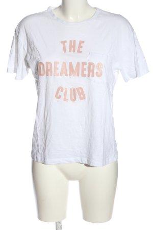 Pull & Bear T-Shirt weiß Schriftzug gedruckt Casual-Look