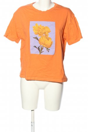 Pull & Bear T-Shirt hellorange-lila Motivdruck Casual-Look