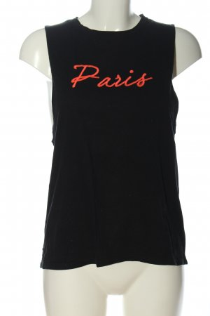 Pull & Bear Tanktop zwart-licht Oranje gedrukte letters casual uitstraling
