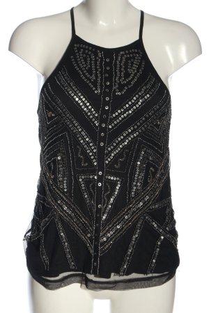 Pull & Bear Tanktop schwarz-silberfarben grafisches Muster Casual-Look