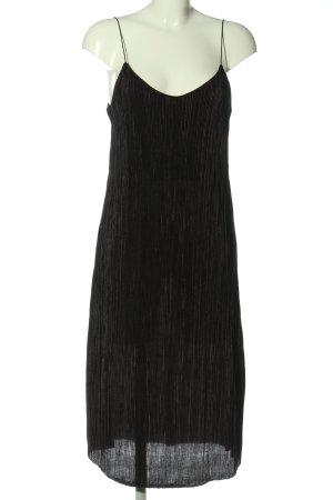 Pull & Bear Trägerkleid schwarz-goldfarben Streifenmuster Elegant