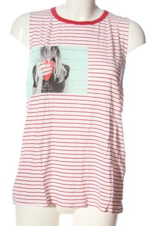 Pull & Bear Top met spaghettibandjes wit-rood volledige print casual uitstraling