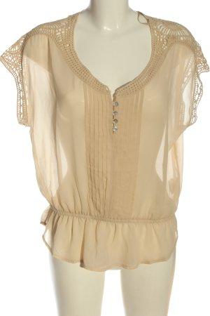 Pull & Bear Blusa trasparente crema elegante