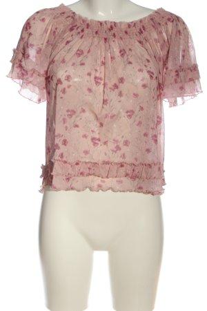 Pull & Bear Transparenz-Bluse pink-hellgrau Allover-Druck Casual-Look