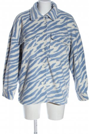 Pull & Bear Übergangsmantel blau-weiß Animalmuster Casual-Look