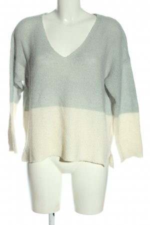 Pull & Bear V-Ausschnitt-Pullover hellgrau-creme Casual-Look