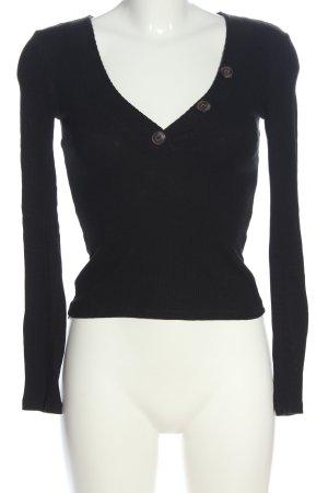 Pull & Bear V-Ausschnitt-Pullover schwarz Casual-Look