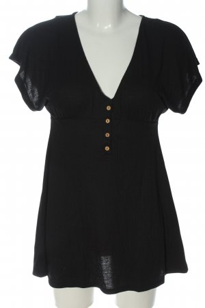 Pull & Bear V-Neck Shirt black casual look