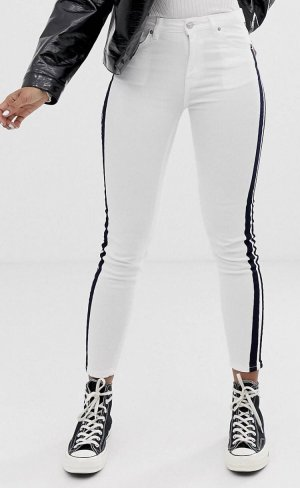 Pull & Bear - Weiße Jeans mit Seitenstreifen in Kontrastfarbe