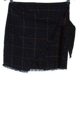 Pull & Bear Kopertowa spódnica czarny-niebieski Wzór w kratkę W stylu casual