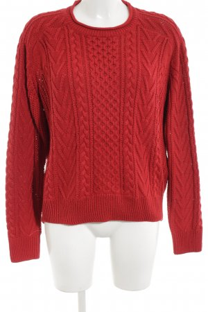 Pull & Bear Kabeltrui rood grafisch patroon casual uitstraling