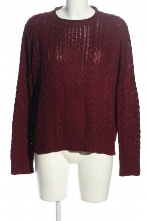 Pull & Bear Zopfpullover rot Zopfmuster Casual-Look
